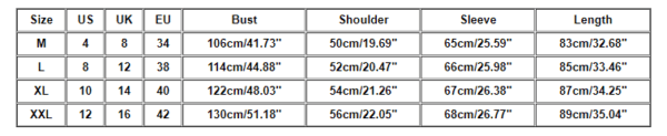 Cyber punk Men's jacket Size chart